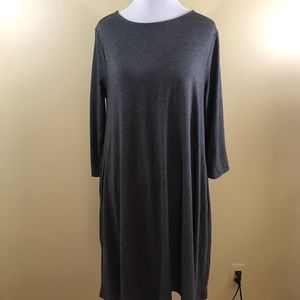Zenana Premium Gray Dress 3/4 Sleeves Medium